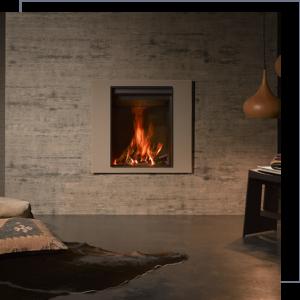 foyer escamotable Stuv 22-70 avec un cadre en verre couleur moca
